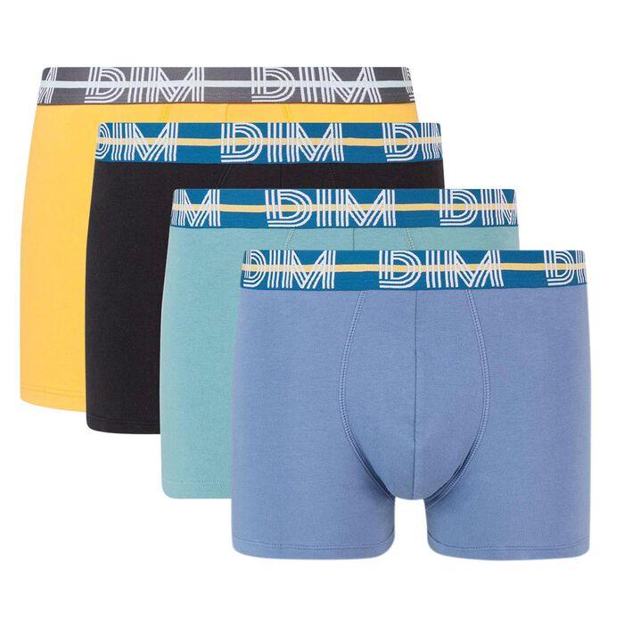 Lot de 4 boxers coton stretch ceinture graphique Dim Powerful, , DIM