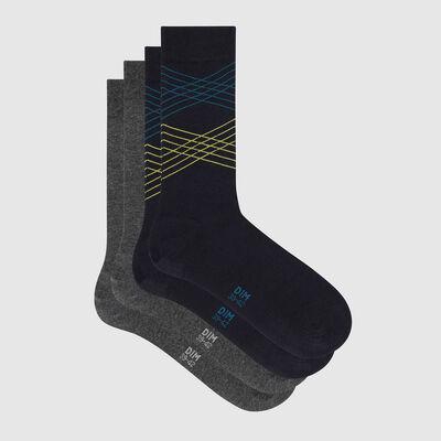 Lot de 2 paires de chaussettes hommes imprimé lignes bleu Coton Style, , DIM