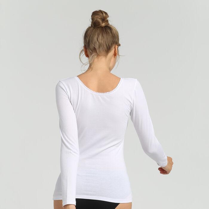 Tee-shirt manches longues femme tout confort blanc Thermal de Dim, , DIM