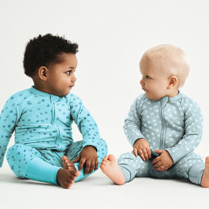 Pyjama bébé zippé coton stretch bleu clair imprimé pluie d'étoile Dim, , DIM