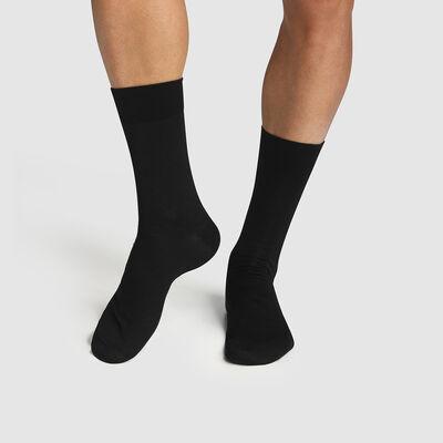 Lot de 2 paires de chaussettes homme coton mercerisé Noir Fil d'Écosse , , DIM