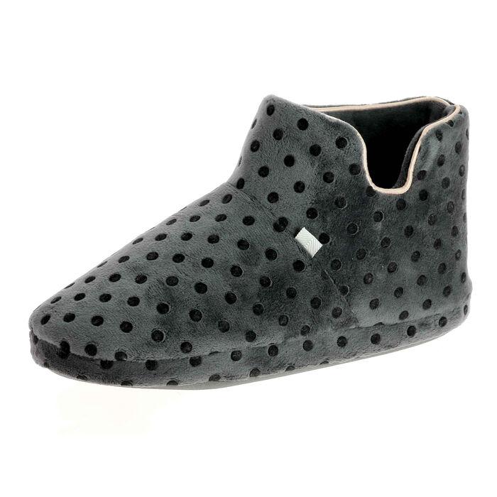 Chaussons bottines Femme gris à pois noirs, , DIM