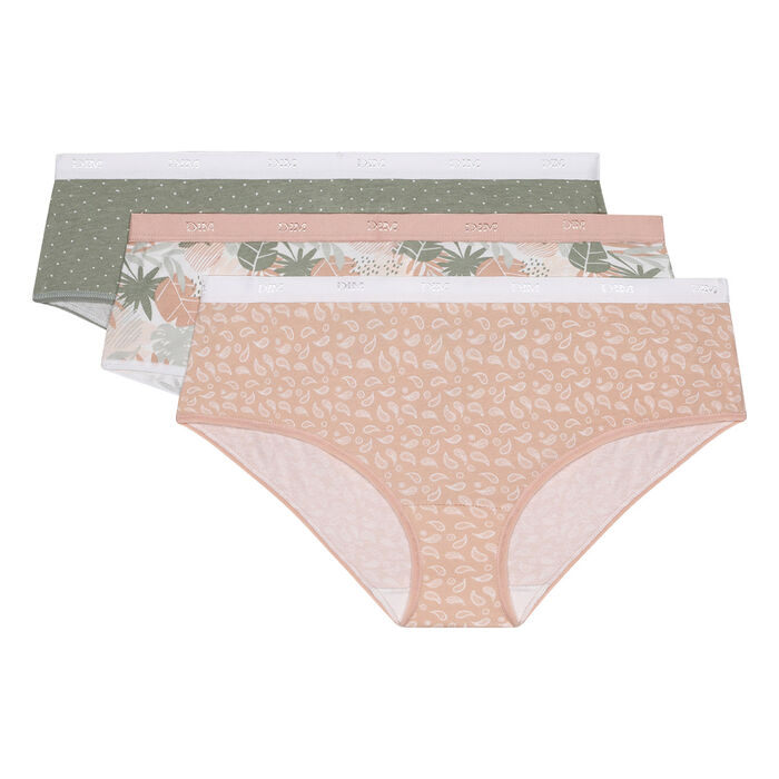 Lot de 3 boxers en coton stretch imprimé tropical rose Les Pockets Dim, , DIM
