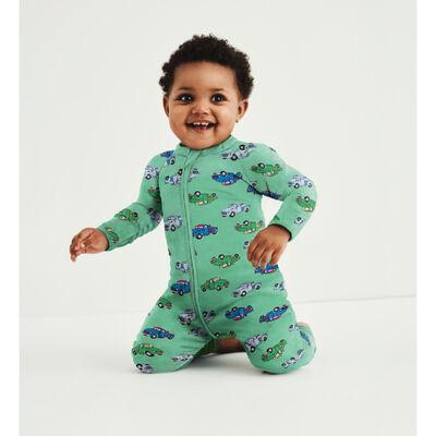 Pyjama bébé zippé en coton stretch vert imprimé camion Dim Baby, , DIM