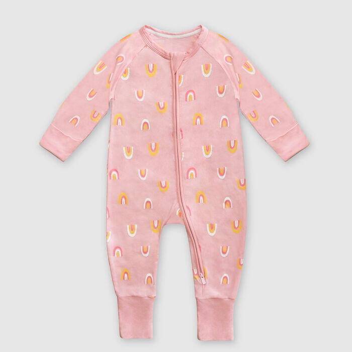 Pyjama bébé zippé en coton stretch rose imprimé rainbow Dim Baby, , DIM