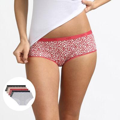 Lot de 5 boxers en coton stretch imprimé daisy colors Les Pockets Dim, , DIM