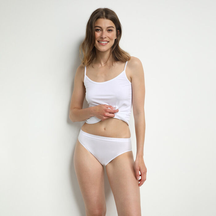 Lot de 2 slips midi blancs Femme Coton Plus Bio, , DIM
