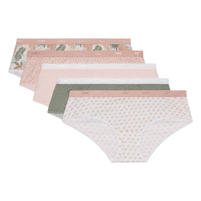 Lot de 5 boxers en coton stretch imprimé tropical pastel Les Pockets, , DIM