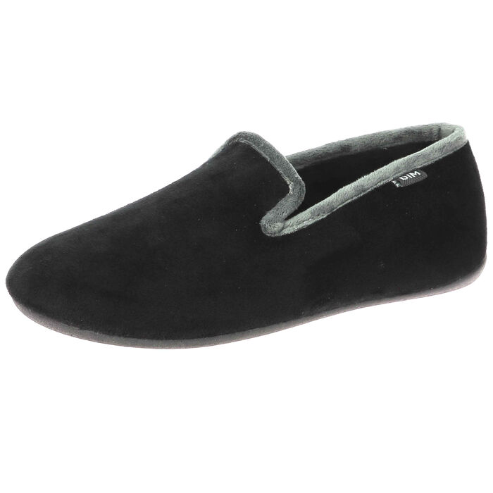 Chaussons noirs type charentaises pour Homme, , DIM