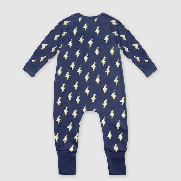Pyjama bébé zippé coton stretch gris foncé imprimé éclair héro Dim, , DIM