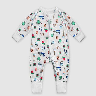 Pyjama bébé zippé en coton stretch blanc imprimé jardinier Dim Baby, , DIM