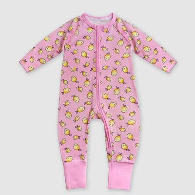 Pyjama bébé zippé en coton stretch rose imprimé citron Dim Baby, , DIM