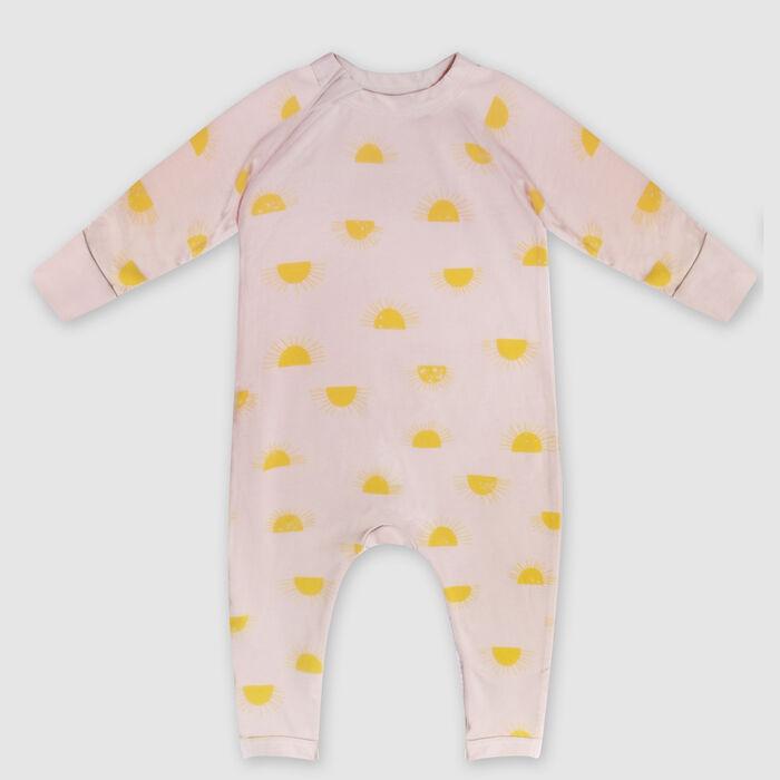 Pyjama bébé zippé en coton bio beige imprimé soleil Dim Baby, , DIM