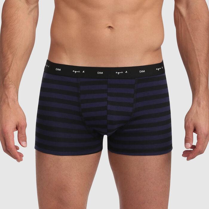Boxer noir en coton stretch imprimé rayures bleutées Agnes B, , DIM