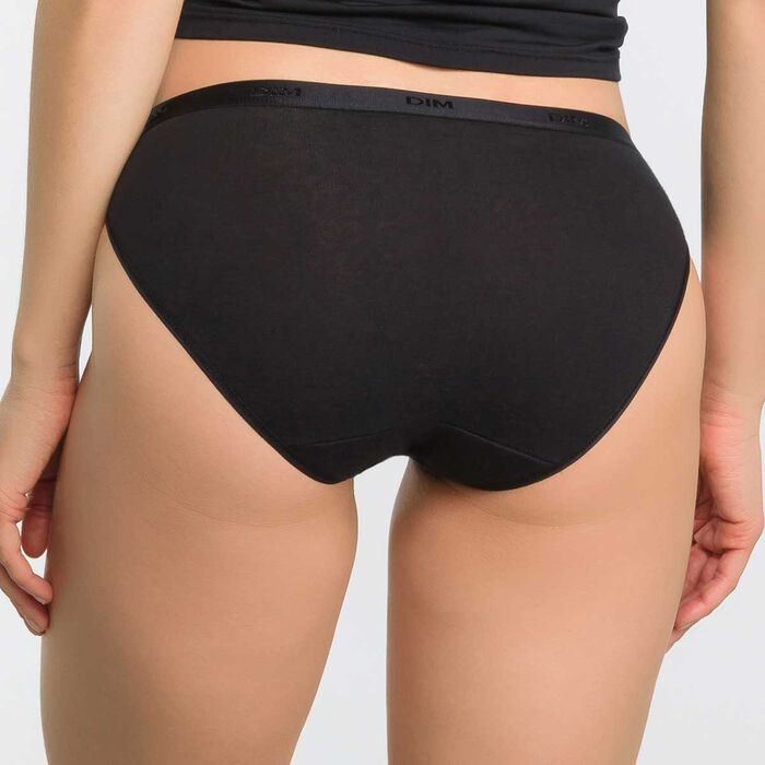 Lot de 3 slips noirs Femme Les Pockets Coton, , DIM