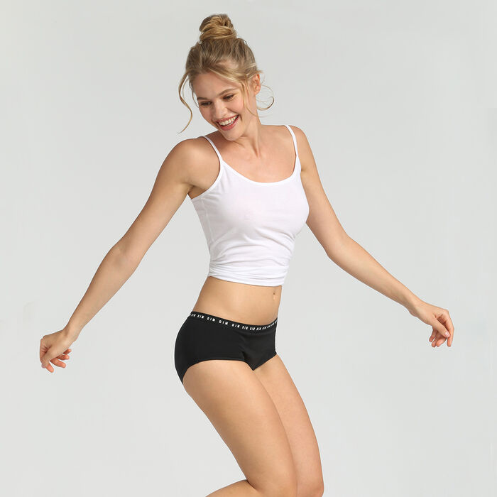 Shorty menstruel lavable en coton noir Flux moyen Dim Protect, , DIM