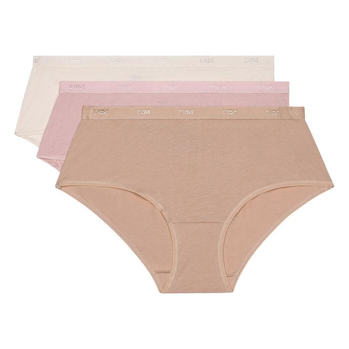 Lot de 3 Boxers peau/rose/nacre Les Pockets Coton, , DIM