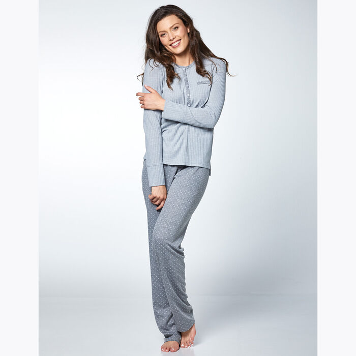 Ensemble de pyjama pour Femme Gris à pois et rayures, , DIM