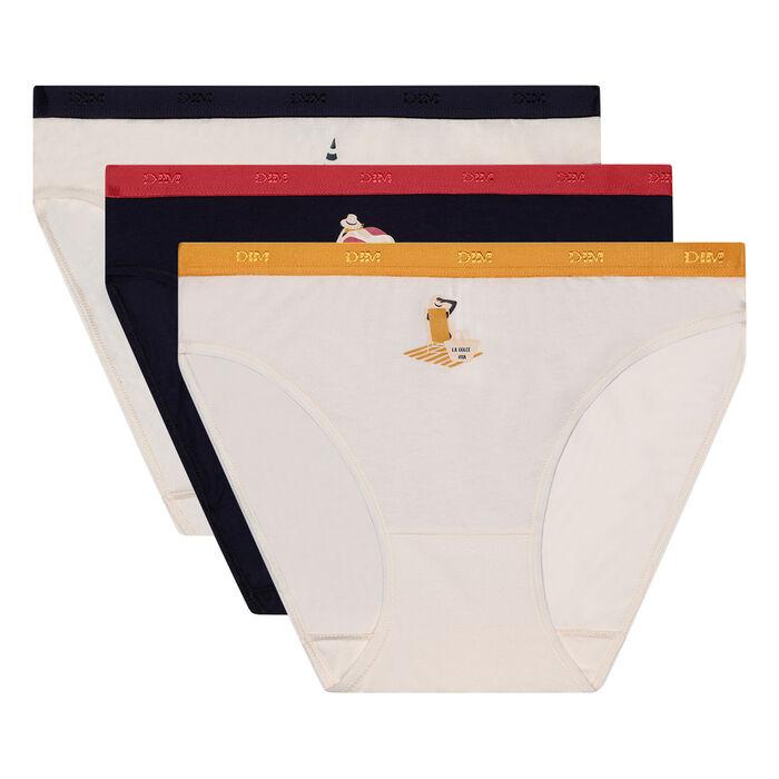 Lot de 3 culottes en coton stretch imprimé dolce vita Les Pockets Dim, , DIM