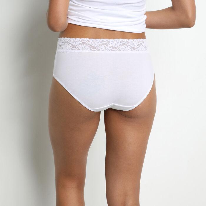Lot de 4 culottes taille haute blanches pour femme Coton Plus Féminine, , DIM