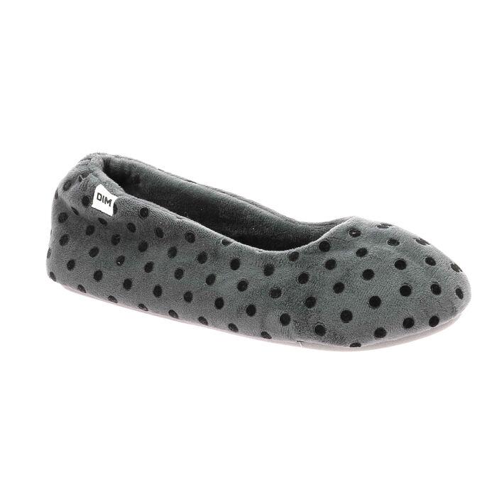 Chaussons souples Femme gris à pois noirs, , DIM