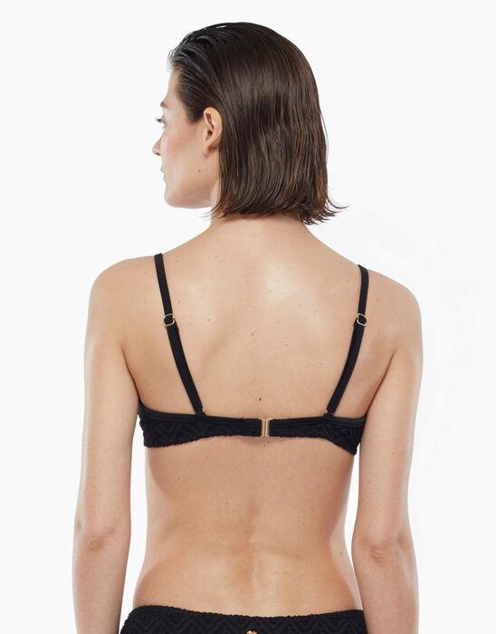Haut de maillot de bain noir à imprimé géométrique avec armatures, , DIM