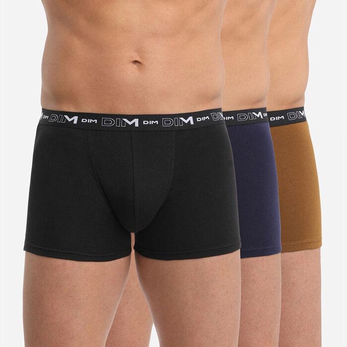 Lot de 3 boxers homme ceinture graphique Noir Bleu Denim Coton Stretch, , DIM