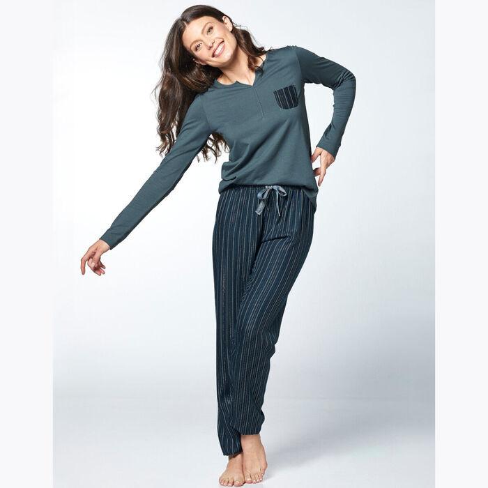 Ensemble de pyjama pour Femme Vert et à rayures irisées, , DIM