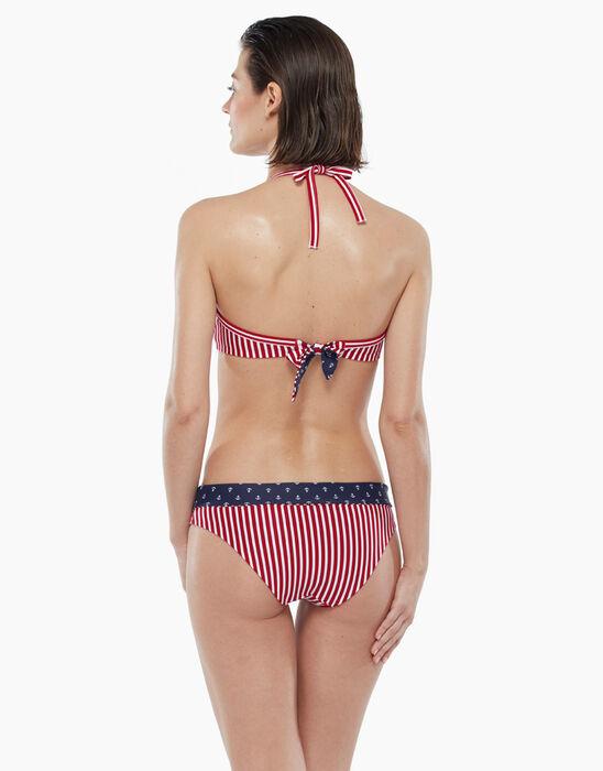 Bas de maillot de bain réversible à rayures rouges et imprimé marin, , DIM