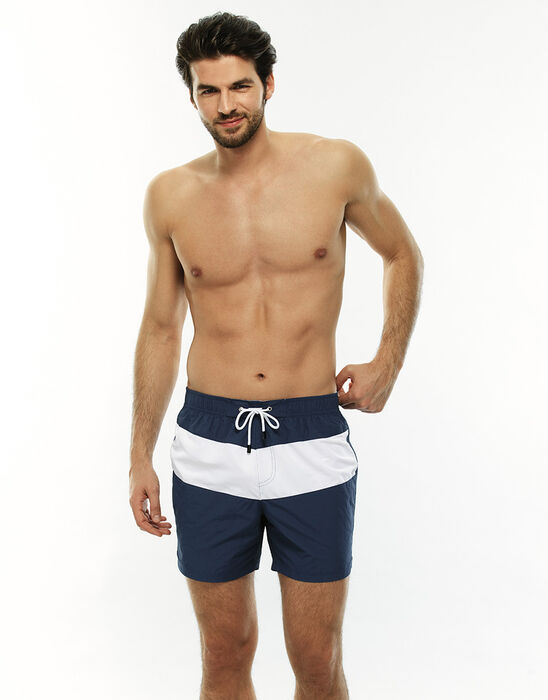 Short de bain mi-long bleu jean avec bande contrastée, , LOVABLE