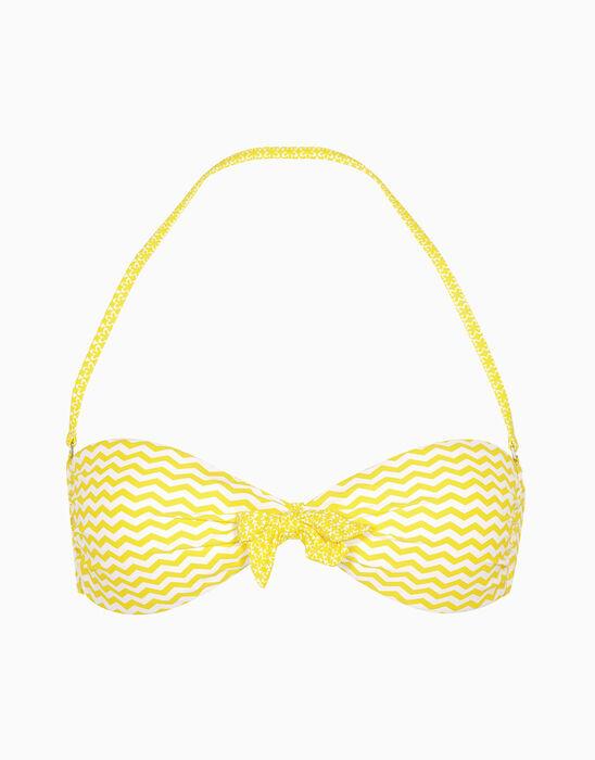 Haut de maillot de bain réversible blanc et jaune, , LOVABLE