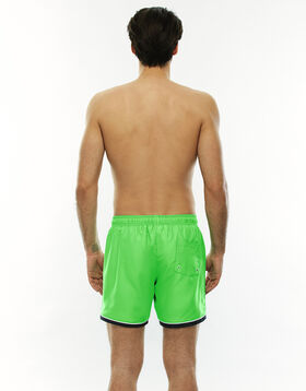 Short de bain mi-long vert avec bande contrastée, , LOVABLE