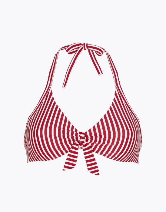 Haut de maillot de bain réversible sans armatures à rayures rouges, , LOVABLE