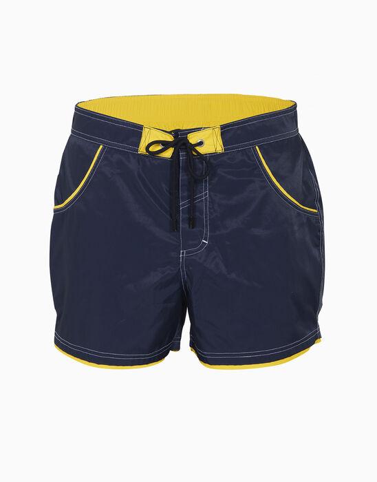 Short de bain court bleu marine aux bordures jaunes, , LOVABLE