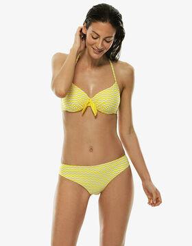 Bas de maillot de bain échancré jaune et blanc, , LOVABLE