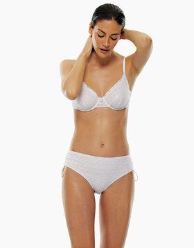 Bas de maillot de bain taille haute en dentelle blanche, , LOVABLE