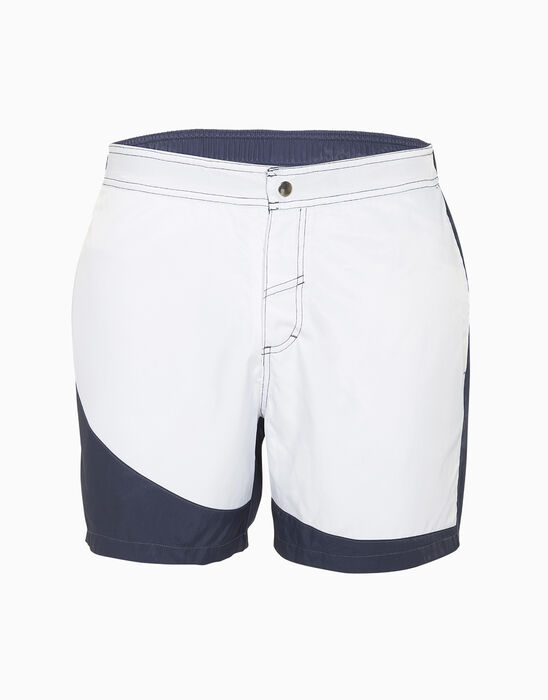 Short de bain mi-long bleu marine et blanc, , LOVABLE