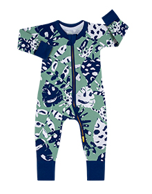 Pyjama bébé imprimé jungle tropicale verte DIM Baby