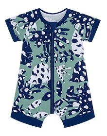 Barboteuse bébé imprimé jungle tropicale verte DIM Baby