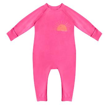 Pyjama bébé zippé en coton bio rose imprimé soleil cœur Dim Baby