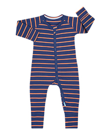 Pyjama bébé marinière grise et orange DIM Baby