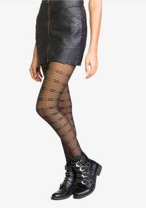 Collant en voile noir motif Tartan fantaisie pour femme
