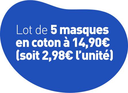 Lot de 5 masques en coton