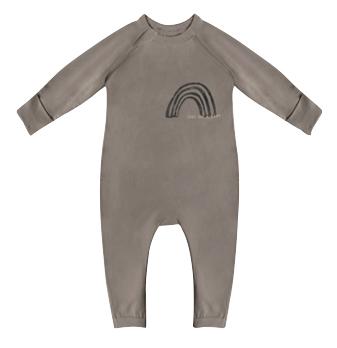 Pyjama bébé zippé en coton bio kaki imprimé rainbow cœur Dim Baby