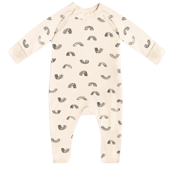 Pyjama bébé zippé en coton bio vanille imprimé rainbow Dim Baby