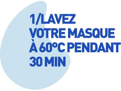 1/Lavez votre masque à 60°C pendant 30 min