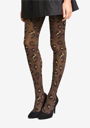 Collant noir pour femme Imprimé Léopard Velours