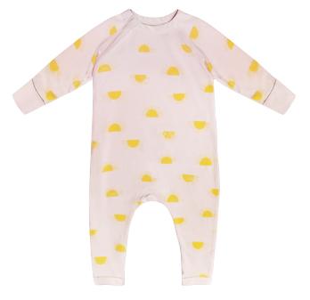 Pyjama bébé zippé en coton bio beige imprimé soleil Dim Baby