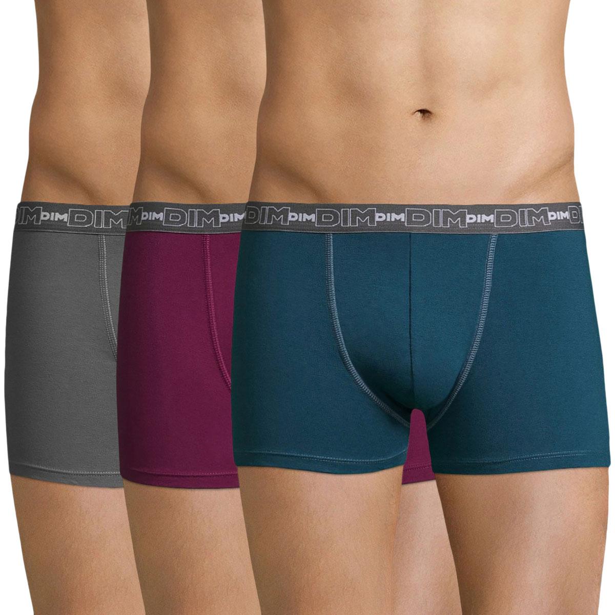 Lot de 3 boxers lie de vin, gris et bleu Coton Stretch