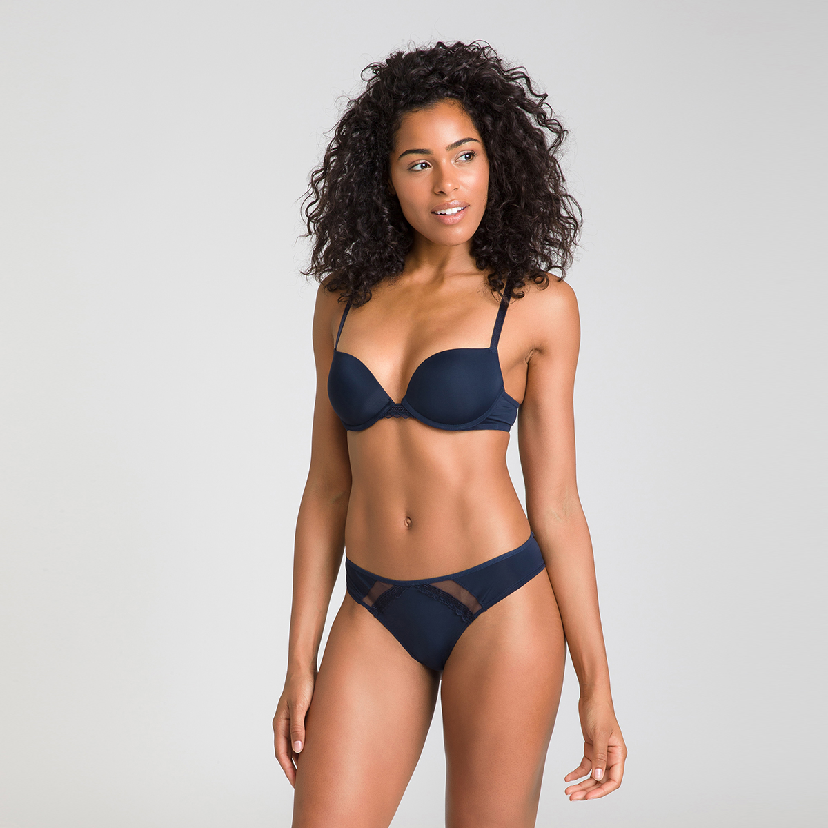 Culotte brésilienne bleu et noir Trendy Micro
